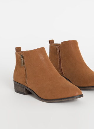 Zip Into Shape Faux Nubuck Booties