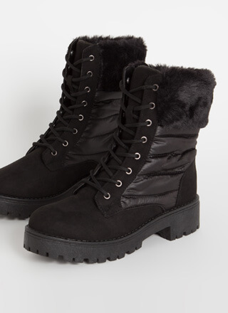 Satin And Furs Cuffed Faux Suede Boots