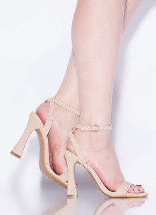 Add Flare Strappy Faux Nubuck Heels