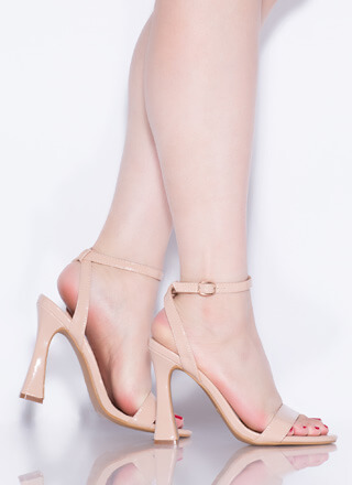 Add Flare Strappy Faux Patent Heels