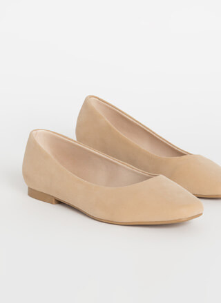 Walking Tour Faux Nubuck Ballet Flats