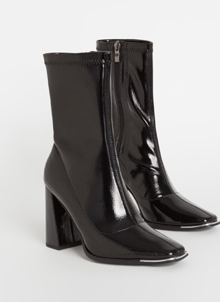 Sleek Look Chunky Faux Patent Booties