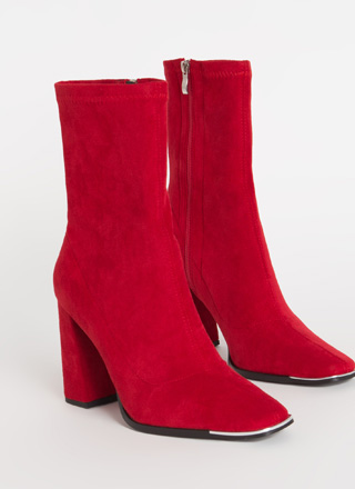 Sleek Look Chunky Faux Suede Booties