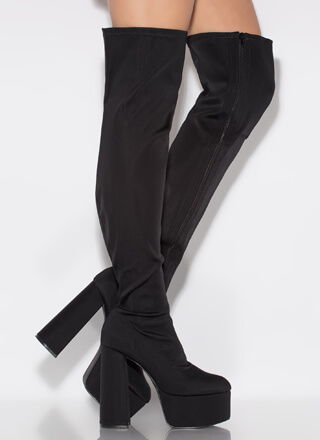 Up Top Chunky Platform Thigh-High Boots