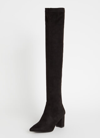Flawless Chunky Pointy Thigh-High Boots