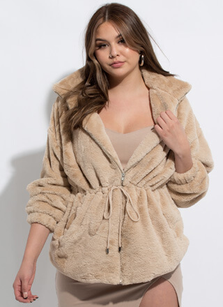 It's A Cinch Faux Fur Drawstring Jacket