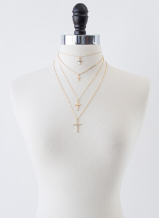 Four Crosses Layered Necklace Set