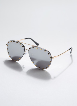 Auto Pilot Studded Aviator Sunglasses