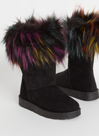 Just Fur Fun Shaggy Trim Boots