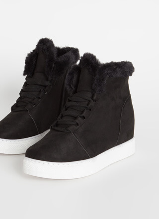 Furry Along Faux Suede Wedge Sneakers