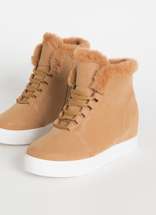 Furry Along Faux Nubuck Wedge Sneakers