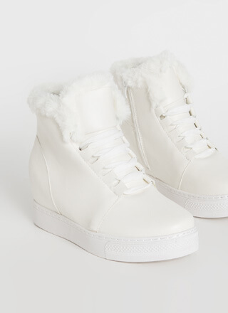 Furry Along Faux Leather Wedge Sneakers