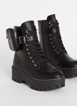 Pouch For You Ankle Strap Combat Boots