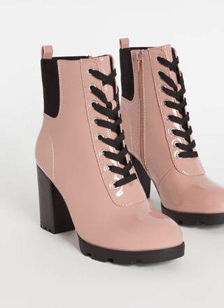 Signature Look Chunky Lace-Up Booties
