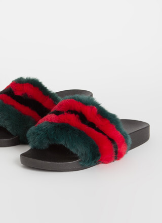 Do It Striped Faux Fur Slide Sandals