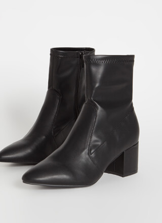 So Done Faux Leather Block Heel Booties