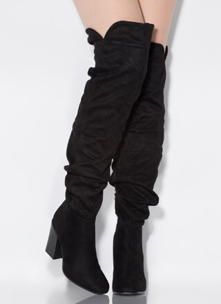 Learn To Slouch Chunky Thigh-High Boots