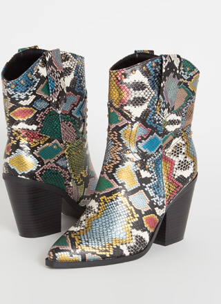 Go Cowgirl Chunky Studded Snake Booties