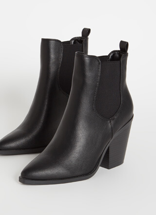Miss Chelsea Chunky Faux Leather Booties