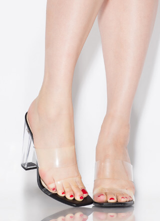 See Clearly Chunky Lucite Illusion Heels