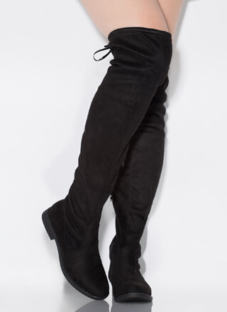 Keep It Simple Tied Over-The-Knee Boots