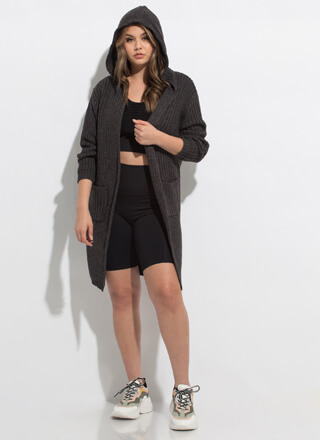Warm Thoughts Hooded Longline Cardigan