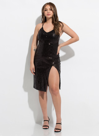 Glisten To Me Slit Sequined Midi Dress