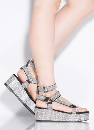 Harness It Rhinestone Platform Sandals