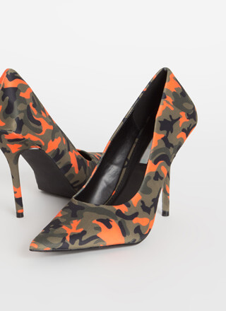 The Main Point Camo Print Stiletto Pumps