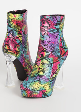 Chic Illusion Lucite Heel Snake Booties
