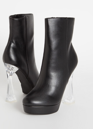 Chic Illusion Clear Lucite Heel Booties