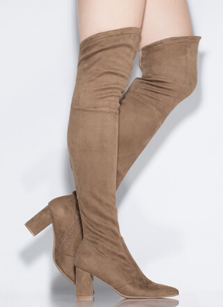 Hit 'Em High-Low Thigh-High Boots