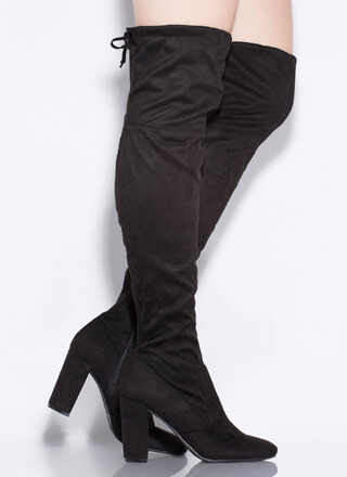 Slay Day Chunky Tied Thigh-High Boots