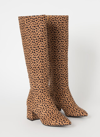 Knee-High Club Chunky Block Heel Boots