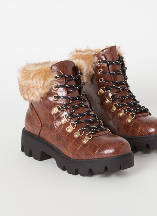 Iconic Faux Crocodile Fur-Cuffed Boots