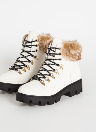 Iconic Faux Nubuck Fur-Cuffed Boots