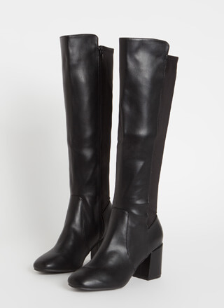 Essential Knee-High Chunky Heel Boots