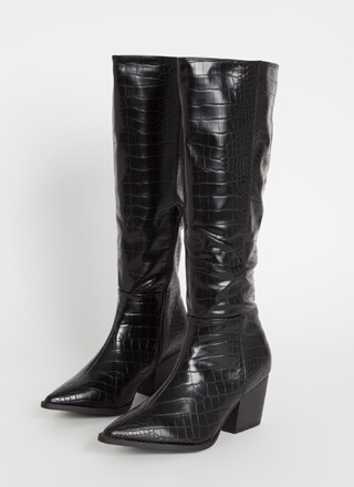 Crocodile Hunt Pointy Knee-High Boots