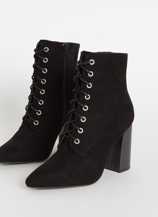 Fall In Love Chunky Lace-Up Booties