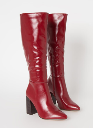 Gloss Lady Faux Leather Knee-High Boots