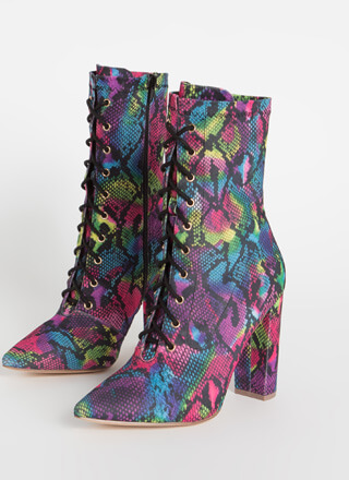 Point For You Lace-Up Snake Booties