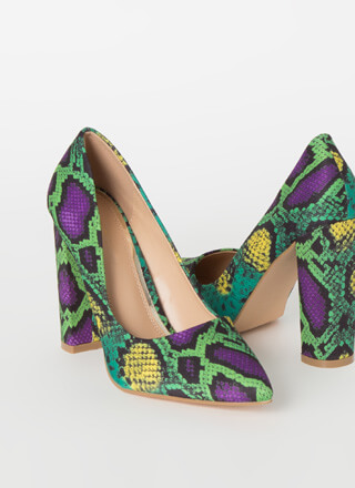 Chunky Town Pointy Snake Print Pumps