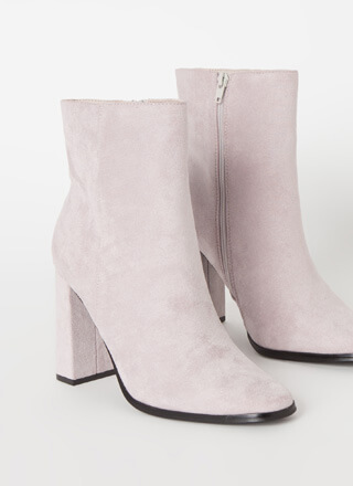 So Essential Chunky Faux Suede Booties