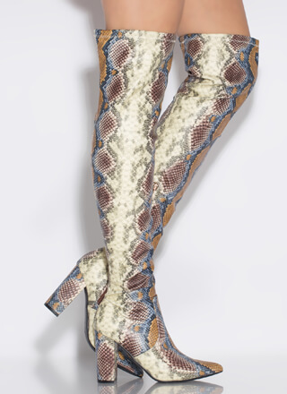 Snake Magic Chunky Thigh-High Boots