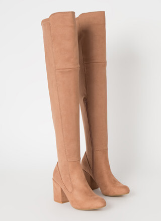 Pull Me In Block Heel Thigh-High Boots