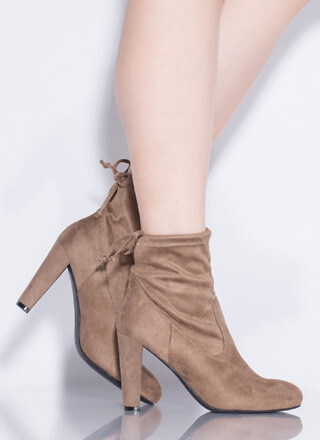 Drawstring Me In Chunky Tied Booties