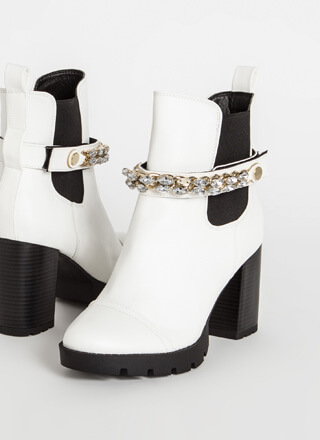 In The Mood Jewel Strap Chelsea Booties