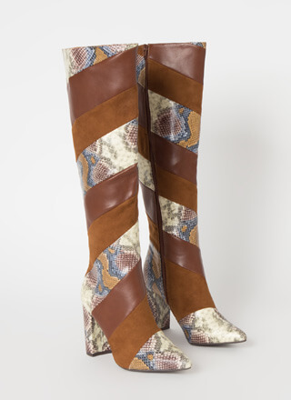 Strip Search Pointy Snake Print Boots