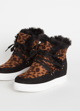 All Fur Me Faux Suede Wedge Sneakers