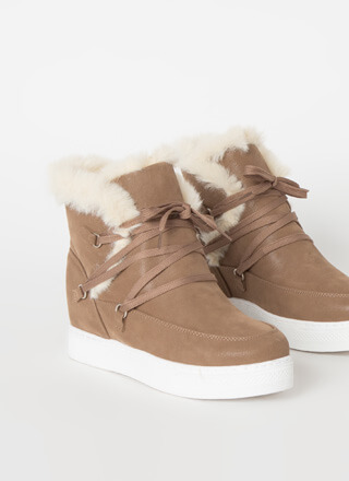All Fur Me Faux Nubuck Wedge Sneakers
